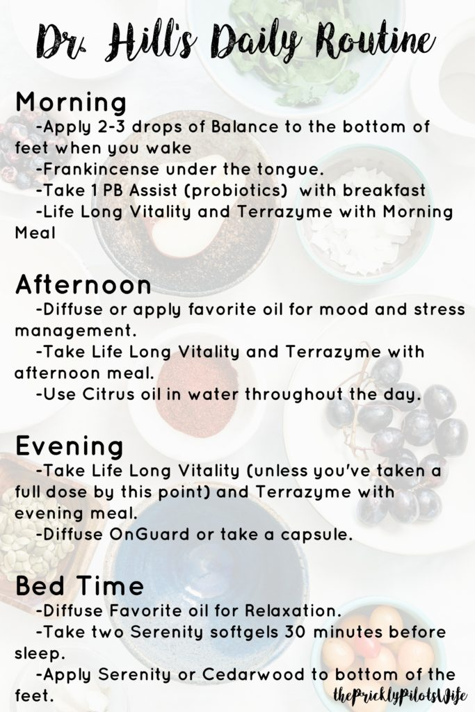 dr. hill's daily doTERRA essential oil routine